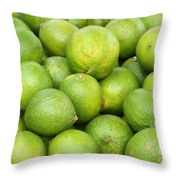 Fresh Green Lemons Throw Pillow by Yali Shi