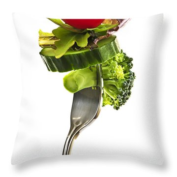 Fresh Vegetables On A Fork Throw Pillow