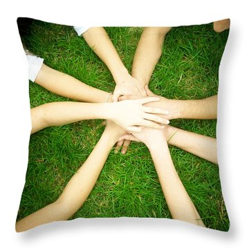 Friends United Throw Pillow by Michal Bednarek