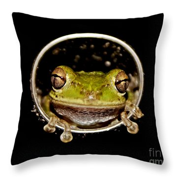 Throw Pillow featuring the photograph Frog by Olga Hamilton