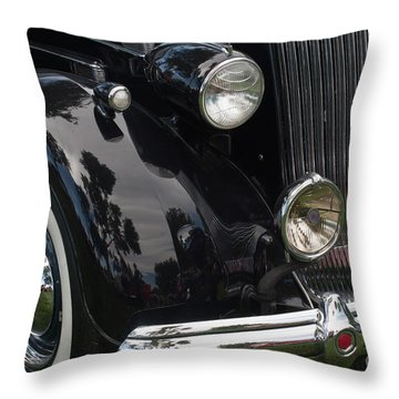Throw Pillow featuring the photograph Front Side Of A Classic Car by Gunter Nezhoda
