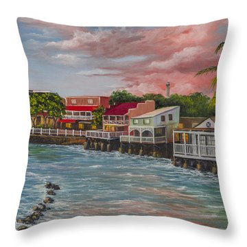 Front Street Lahaina At Sunset Throw Pillow