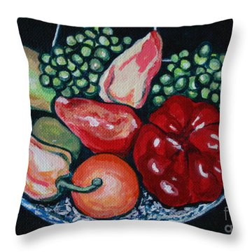 Fruit And Peppers Throw Pillow