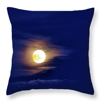 Full Moon With Clouds Throw Pillow by Thomas R Fletcher