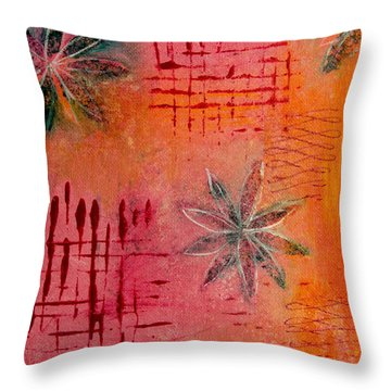 Fun Flowers In Pink And Orange 3 Throw Pillow