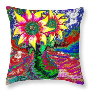 Throw Pillow featuring the painting Funky Sunflowers by Annie Zeno