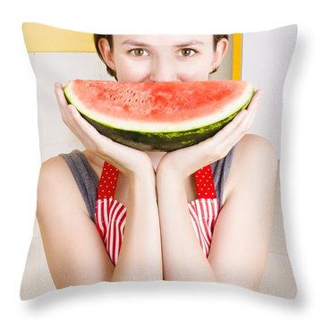 Funny Woman With Juicy Fruit Smile Throw Pillow by Jorgo Photography - Wall Art Gallery