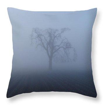 Garry Oak In Fog  Throw Pillow