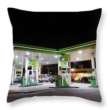Gas Station At Night Throw Pillow