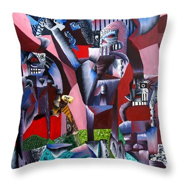 Throw Pillow featuring the painting Gaungian Dimensional by Ryan Demaree