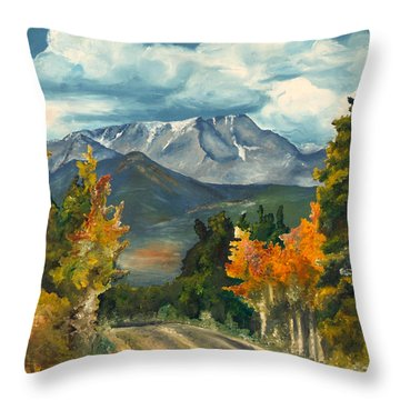 Throw Pillow featuring the painting Gayle's Highway by Mary Ellen Anderson