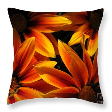 Gazania Named Kiss Orange Flame Throw Pillow by J McCombie