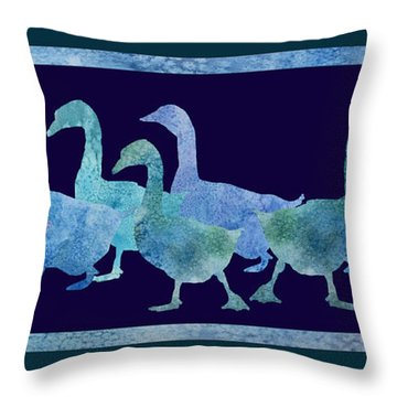 Geese Batik Throw Pillow by Jenny Armitage