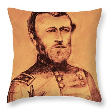Throw Pillow featuring the painting General Us Grant by Eric  Schiabor