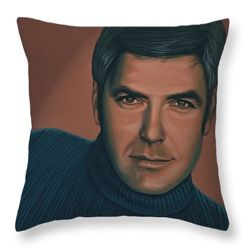 George Clooney Painting Throw Pillow