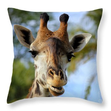 Throw Pillow featuring the photograph Giraffe by Lisa L Silva