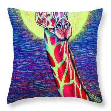 Throw Pillow featuring the painting Giraffe by Viktor Lazarev