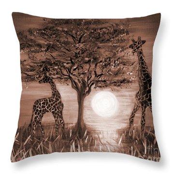 Giraffes Throw Pillow by Oksana Semenchenko