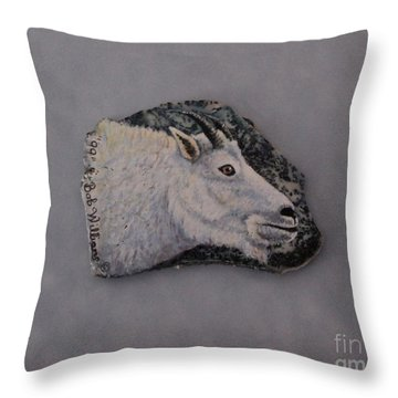 Glacier Park Mountain Goat Throw Pillow