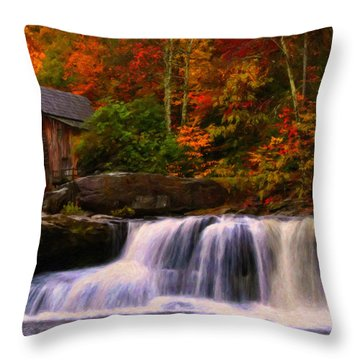 Glade Creek Grist Mill Throw Pillow by Chris Flees