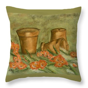 Throw Pillow featuring the painting Gladiolus Spill by Kelly Mills