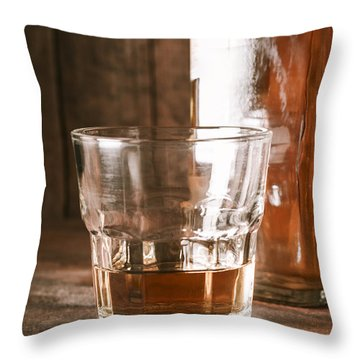 Glass Of Southern Scotch Whiskey On Wooden Table Throw Pillow