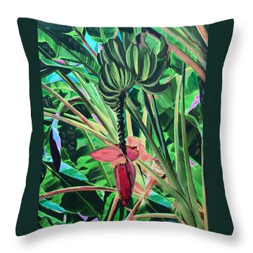 Throw Pillow featuring the mixed media Going Bananas by Deborah Boyd