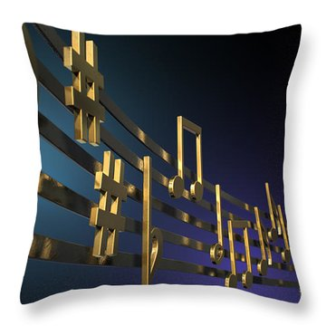 Gold Music Notes On Wavy Lines Throw Pillow