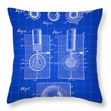 Golf Ball Patent 1902 - Blue Throw Pillow by Stephen Younts