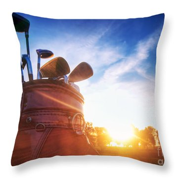 Golf Gear Throw Pillow by Michal Bednarek