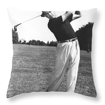 Golfer Sam Snead Throw Pillow by Underwood Archives