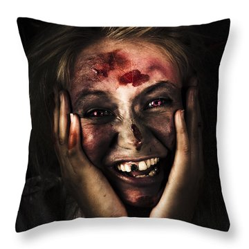 Good Mourning. Face Of A Zombie Apocalypse Throw Pillow