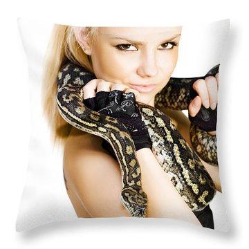 Gorgeous Blonde Snake Handler Throw Pillow