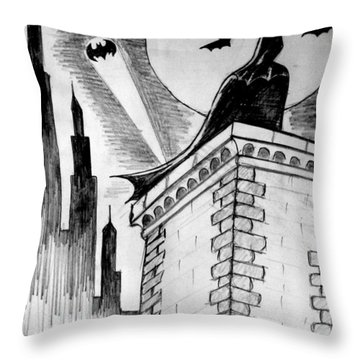 Throw Pillow featuring the painting Gotham  by Salman Ravish