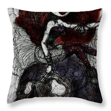 Gothic Girl And Skull Throw Pillow
