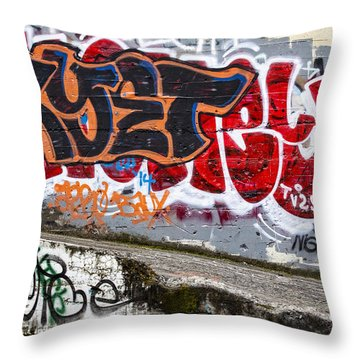 Graffiti Throw Pillow by Carol Leigh