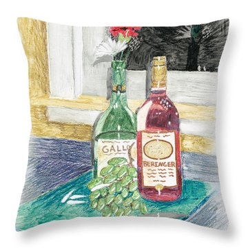 Grapes N Flowers Throw Pillow