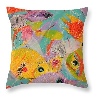 Throw Pillow featuring the painting Great Barrier Reef Fish by Lyn Olsen