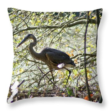 Throw Pillow featuring the photograph Great Blue Heron In Bushes by Karen Silvestri