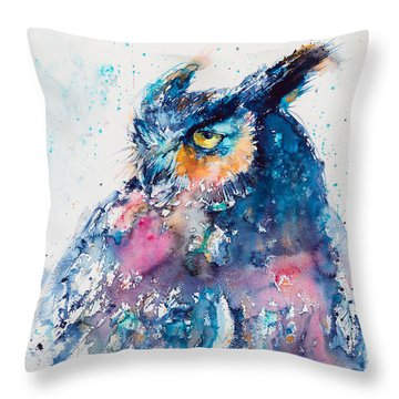 Great Horned Owl Throw Pillow by Kovacs Anna Brigitta