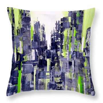 Throw Pillow featuring the painting Green City by Katie Black