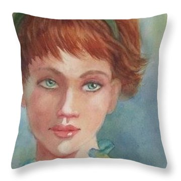 Green Eyes Throw Pillow by Marilyn Jacobson