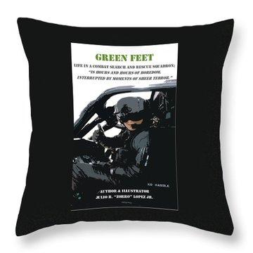 Green Feet Throw Pillow by Julio Lopez