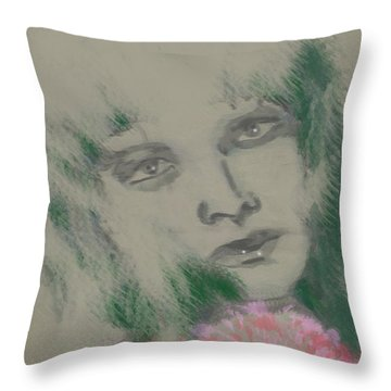 Green Gloria Throw Pillow by Kim Prowse