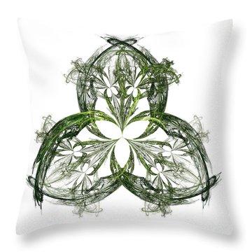 Throw Pillow featuring the digital art Green Irish Shamrock Fractal Motif by Jane McIlroy