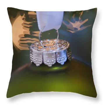 Green Ornament Hanging In Tree Throw Pillow by Birgit Tyrrell