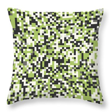 Throw Pillow featuring the digital art Green Pixel Art by Mike Taylor