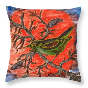 Throw Pillow featuring the painting Green Warbler by Teresa White
