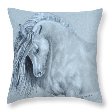 Grey Horse Throw Pillow