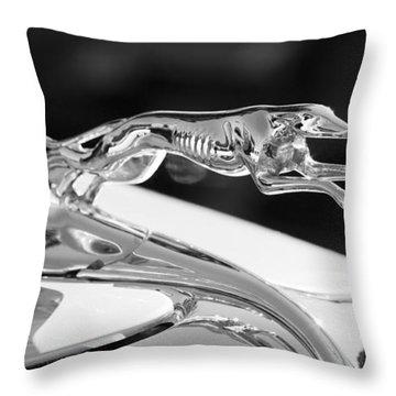 Greyhound Hood Ornament Throw Pillow by Chris Dutton